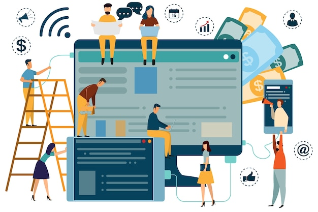 Digital marketing concept seo, market research website coding, internet search optimizatio Premium Vector