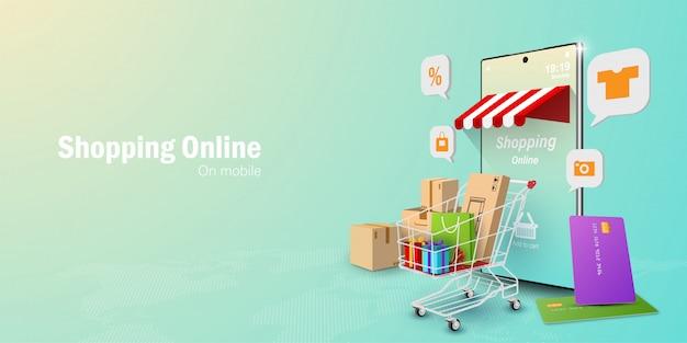 Digital marketing concept, shopping online on mobile application Premium Vector