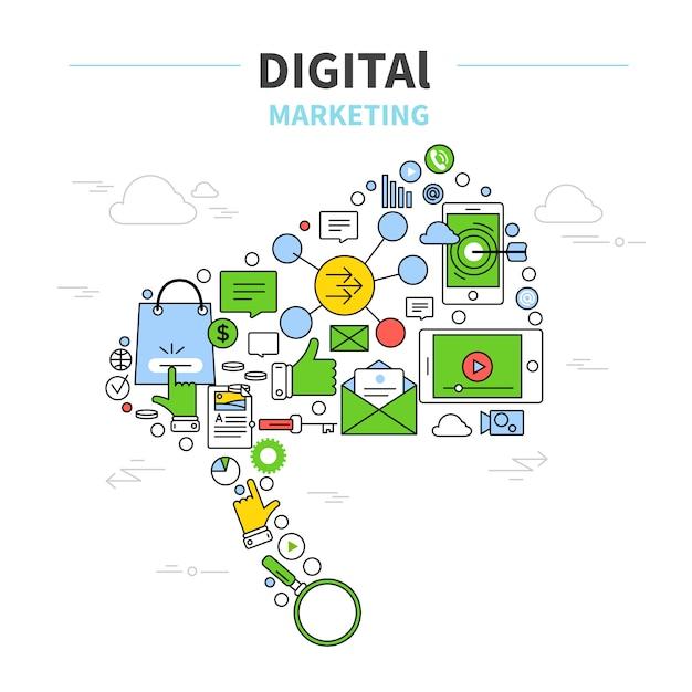 مفهوم بازاریابی دیجیتال بردار رایگان