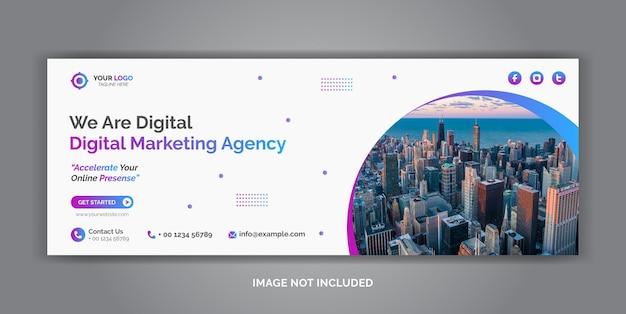デジタルマーケティング企業ソーシャルメディアカバーテンプレート Premiumベクター