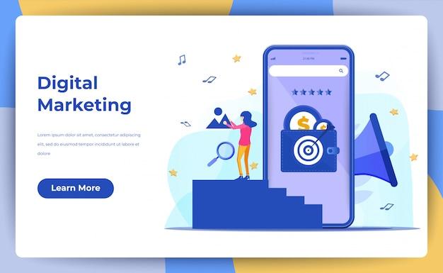 Digital marketing, digital mobile and affiliate online social media. for web landing page Premium Vector