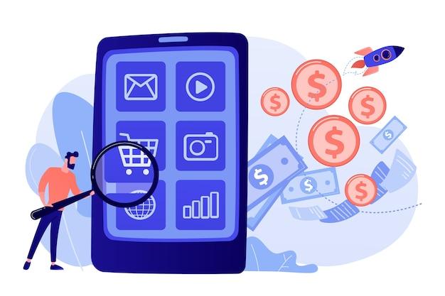 디지털 마케팅, 전자 상거래. 구매자 플랫 캐릭터 온라인 쇼핑 무료 벡터