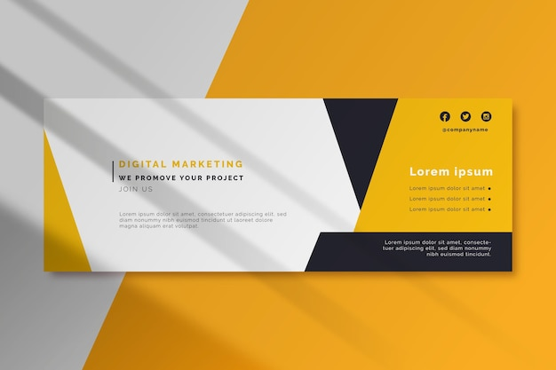 Digital marketing facebook cover template Premium Vector