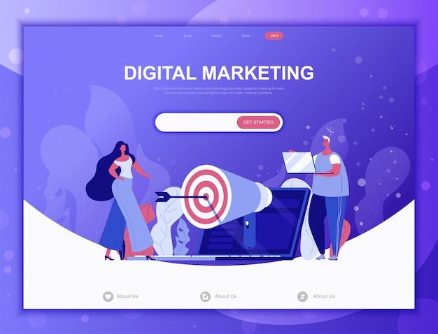 Digital marketing flat concept, landing page web template Premium Vector