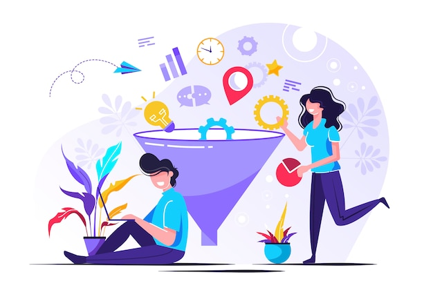 Digital marketing funnel leads generation with customers Premium Vector