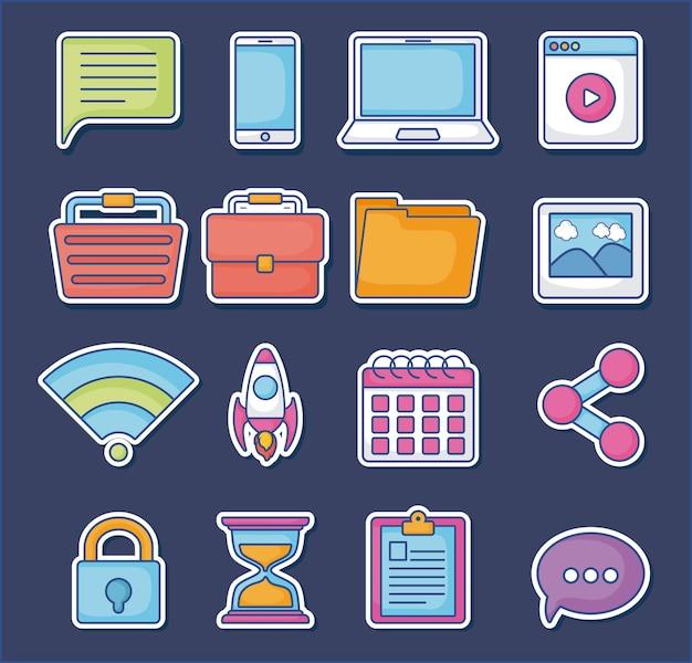 Digital marketing icon set | Premium Vector