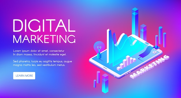 Digital marketing illustration of business market research and development. Free Vector