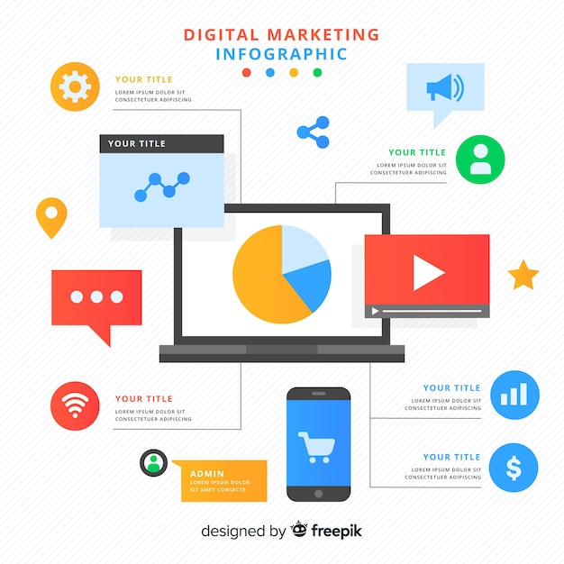 Digital marketing infographic Free Vector