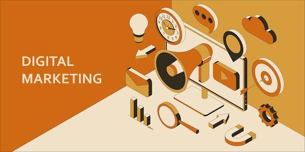 Digital marketing isometric background. marketing technology concept. promotion and social media communication. Premium Vector