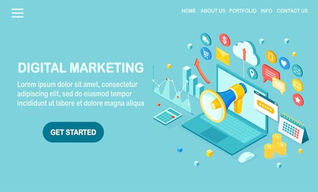 Цифровой маркетинг. изометрический компьютер, ноутбук, компьютер с деньгами, график, папка, мегафон, громкоговоритель, мегафон. реклама стратегии развития бизнеса. анализ социальных сетей Premium векторы