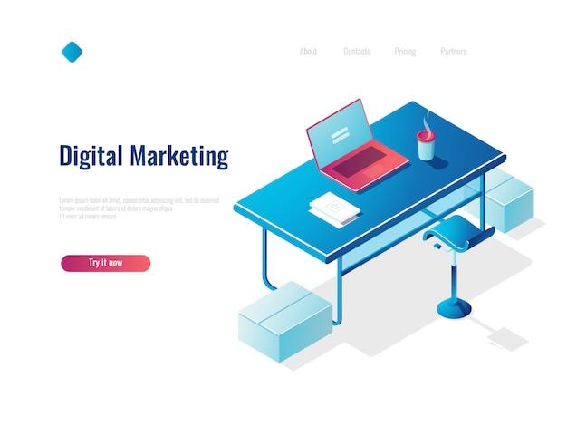 Digital marketing isometrica concetto di occupazione, posto di lavoro di ufficio, area di lavoro, tavolo con laptop aperto Vettore gratuito