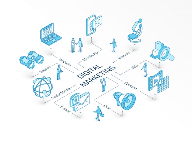 Digital marketing isometric concept. integrated infographic system. people teamwork. viral content, e-mail, website symbol. mobile ad, social media analysis, seo pictogram Premium Vector