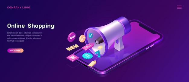 Digital marketing isometric concept with megaphone Free Vector