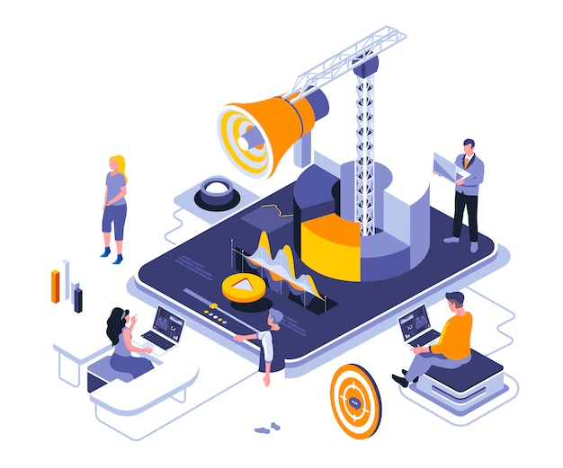 Digital marketing isometric    illustration template Premium Vector