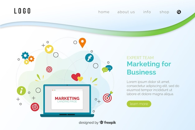 Digital marketing landing page template Free Vector