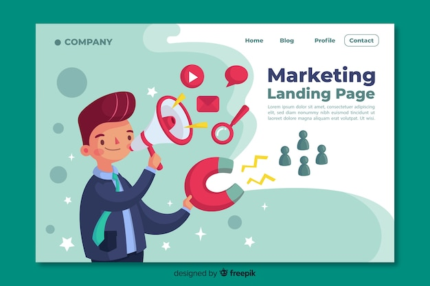 Digital marketing landing page template Premium Vector