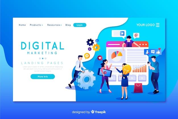 デジタルマーケティングのランディングページテンプレート Premiumベクター