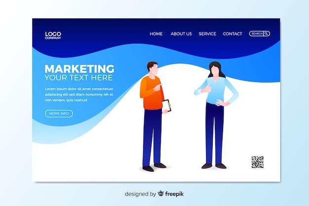 Digital marketing landing page template Free Vector