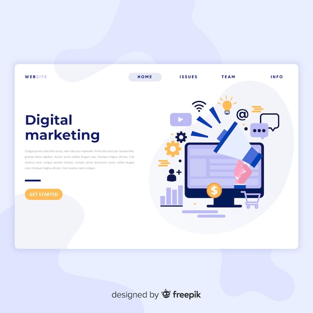 Digital marketing landing page Free Vector