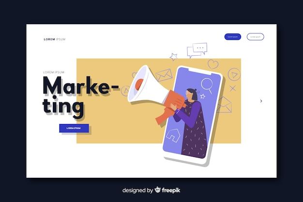 Digital marketing landing page Free Vector
