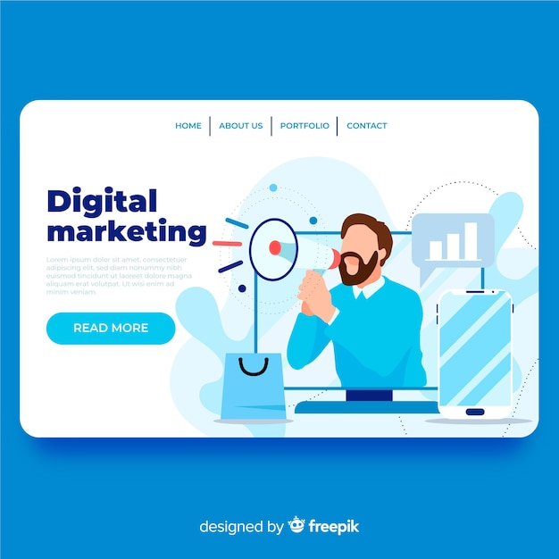 free vector digital marketing landing page digital marketing landing page