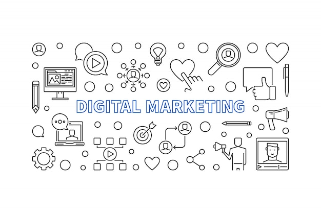 Digital marketing linear hizontal banner.  illustration Premium Vector