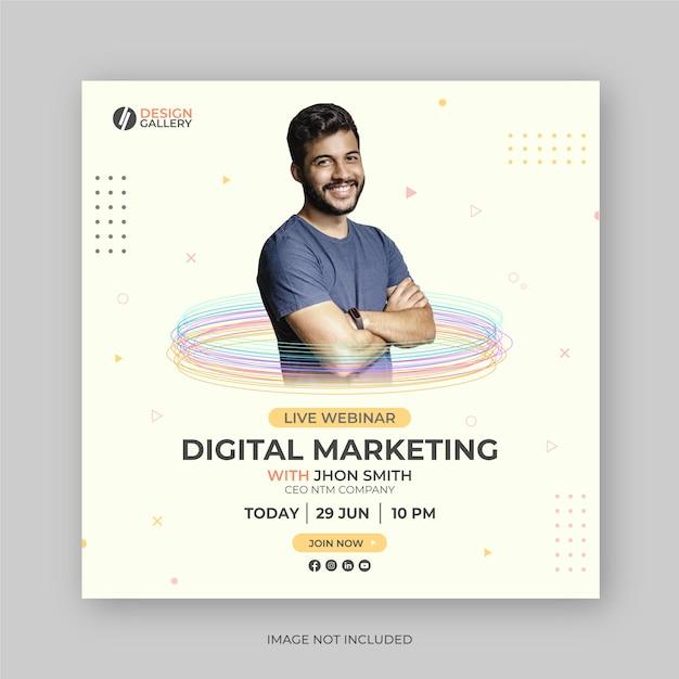 Digital marketing live webinar social media post banner design template Premium Vector