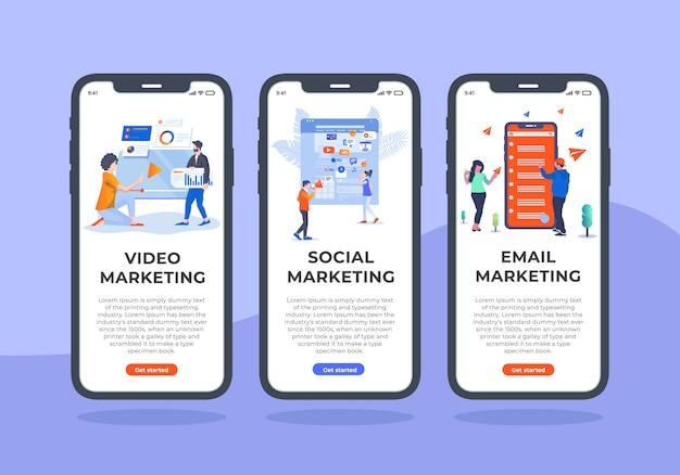 Digital-marketing-mobile-ui-design. Premium Vector