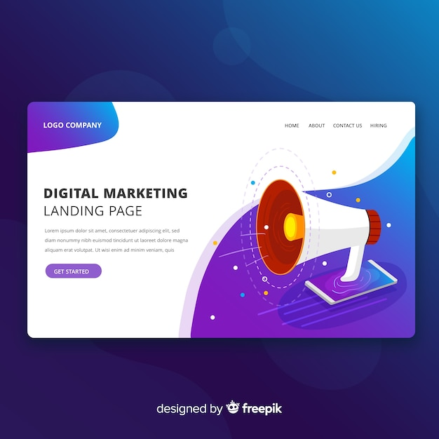 free vector digital marketing modern landing page web design digital marketing modern landing page