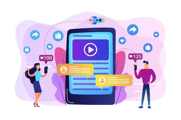 Digital marketing, online advertising, smm. app notification, chatting, texting. viral content, internet meme creation, mass shared content concept. Free Vector