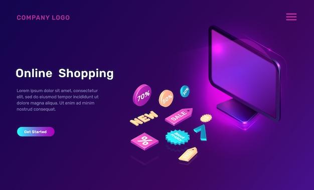 Digital marketing, online shopping isometric Free Vector