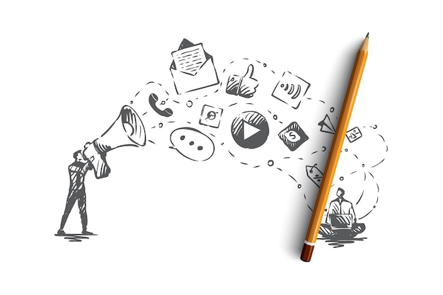 Digital, marketing, online, website, media concept. hand drawn icons of marketing services concept s