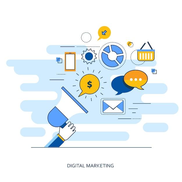 Digital marketing outline concept Premium Vector
