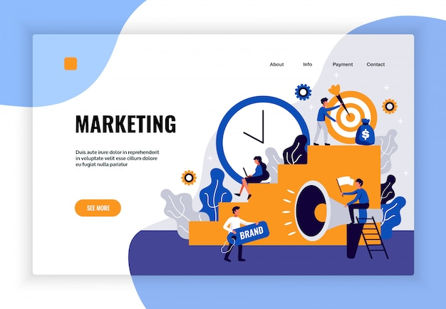 Digital marketing page design with brand development symbols flat Free Vector