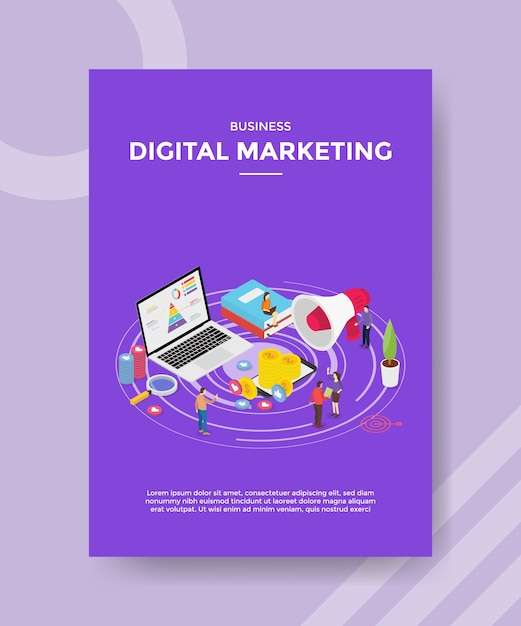 Digital marketing people promotion business on internet laptop for template of  flyer Free Vector