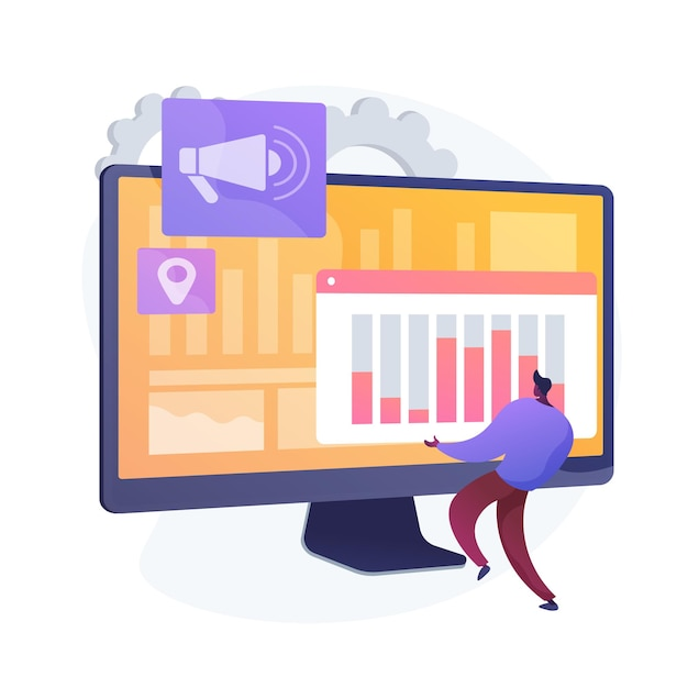 Piano di marketing digitale. business smm, interfaccia analitica online, pubblicità display. analista che studia i dati statistici sulla valutazione del marchio. illustrazione della metafora del concetto isolato di vettore Vettore gratuito