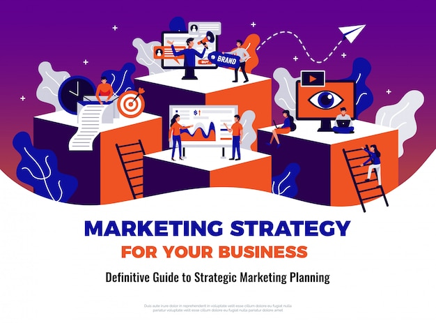가이드 및 계획 기호 평면 디지털 마케팅 포스터 무료 벡터