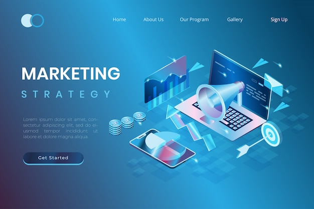 Digital marketing and promotion concepts, start-up development, marketing data analysis in isometric 3d illustration style Premium Vector