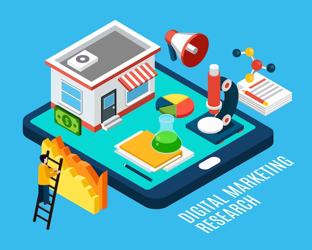 Digital marketing research and tools isometric illustration Free Vector
