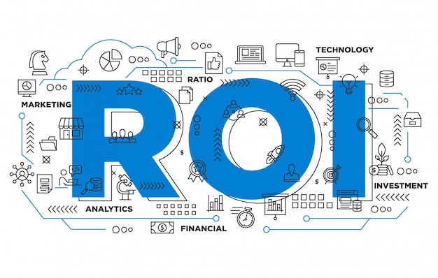 Digital marketing return on investment iconic background Premium Vector