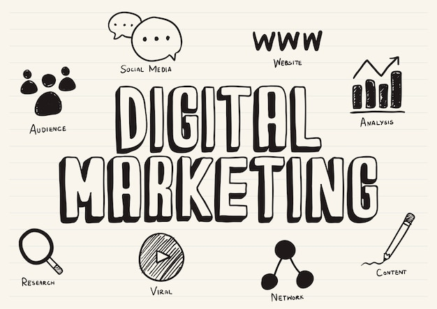 Digital marketing scribbled on a notepad Free Vector