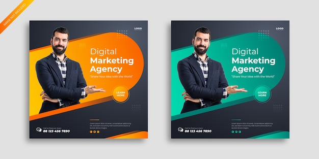 Digital marketing social media post template Premium Vector
