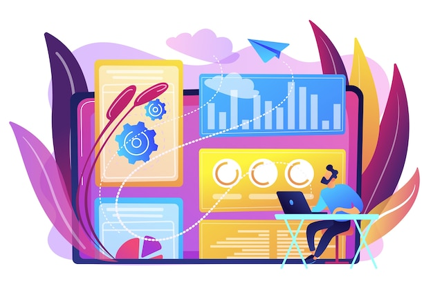 디지털 기술 및 미디어를 다루는 디지털 마케팅 전략가. 기여 모델, 브랜드 인사이트 및 측정 도구 개념. 밝고 활기찬 보라색 고립 된 그림 무료 벡터