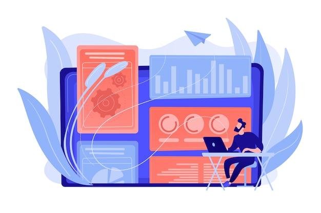 디지털 기술 및 미디어를 다루는 디지털 마케팅 전략가. 기여 모델, 브랜드 인사이트 및 측정 도구 개념. 분홍빛이 도는 산호 bluevector 고립 된 그림 무료 벡터