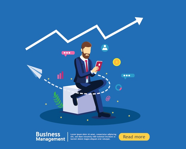 Digital marketing strategy concept with business man in modern flat design template Premium Vector