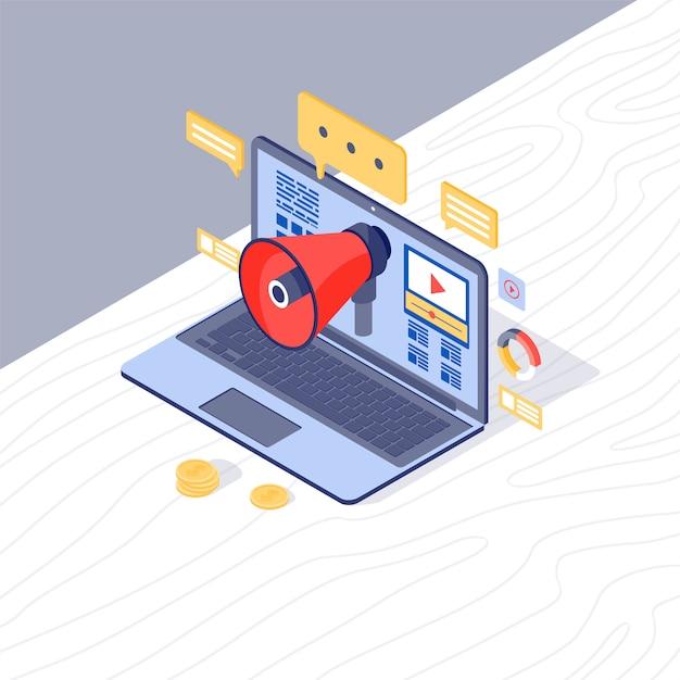 Digital marketing strategy isometric vector illustration Premium Vector
