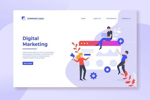 デジタルマーケティング戦略のランディングページ Premiumベクター