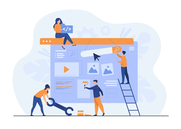 Digital marketing team constructing landing or home page. Free Vector