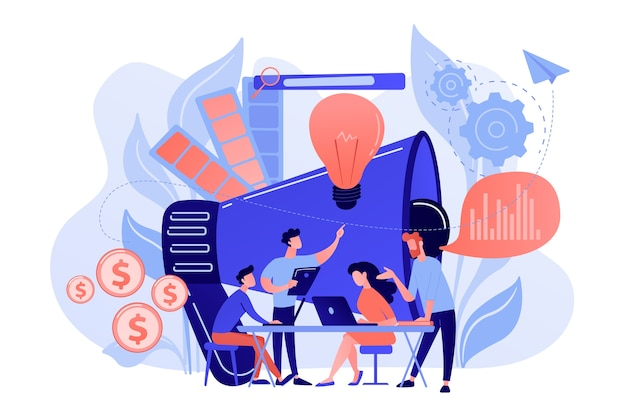 Digital marketing team with laptops and light bulb. marketing team metrics, marketing team lead and responsibilities concept on white background. Free Vector