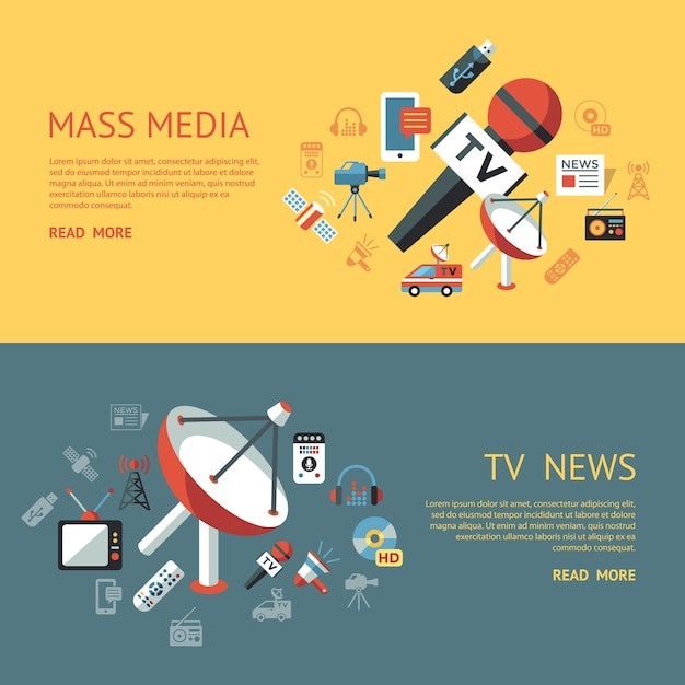 Digital mass media objects color simple flat icons collection Vector